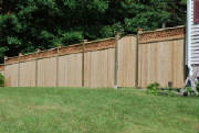 A recent cedar fence with lattice top installation recently done by Local Fence in Pelham New Hampshire